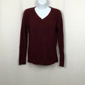 Talbots maroon cotton cable knit V-neck sweater LP